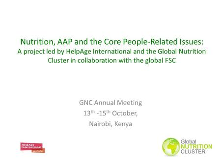 Nutrition, AAP and the Core People-Related Issues: A project led by HelpAge International and the Global Nutrition Cluster in collaboration with the global.