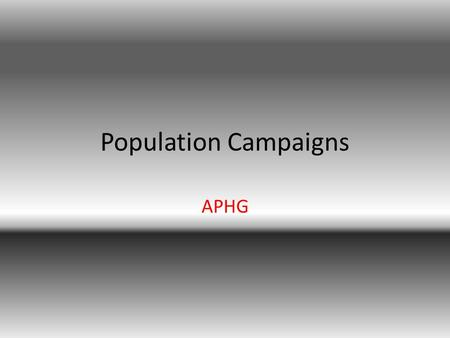 Population Campaigns APHG. 4 Anti Natalist Countries China India Kenya Brazil.