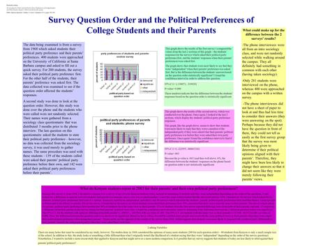 Survey Question Order and the Political Preferences of College Students and their Parents The data being examined is from a survey from 1968 which asked.