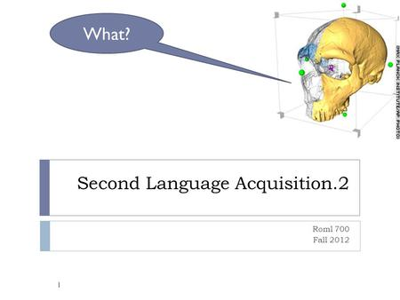 Second Language Acquisition.2 Roml 700 Fall 2012 1 What?