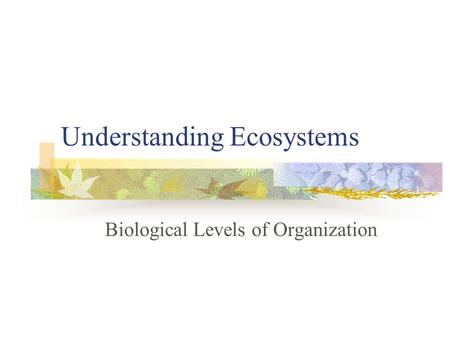 Understanding Ecosystems Biological Levels of Organization.