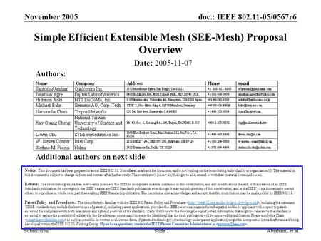 <strong>Doc</strong>.: IEEE 802.11-05/0567r6 Submission November 2005 Abraham, et.al.Slide 1 Simple Efficient Extensible Mesh (SEE-Mesh) Proposal Overview Date: 2005-11-07.