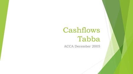 Cashflows Tabba ACCA December 2005. Tabba PPE CostDepreciation Op Balance202004400 Acquisitions Owned 2900 Acquisitions Fin Leases 1500 Disposals(8600)(1200)