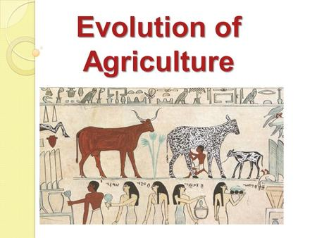 Evolution of Agriculture. Agriculture Defined The art, science, and business of managing the growth of plants and animals for human use.