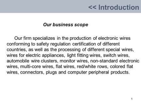 Our business scope Our firm specializes in the production of electronic wires conforming to safety regulation certification of different countries, as.