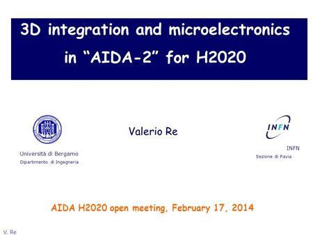 "3D integration and microelectronics in ""AIDA-2"" for H2020"