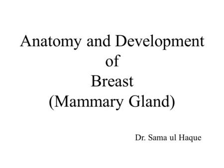Anatomy and Development of Breast (Mammary Gland) Dr. Sama ul Haque.