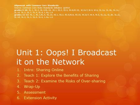 Unit 1: Oops! I Broadcast it on the Network 1.Intro: Sharing Online 2.Teach 1: Explore the Benefits of Sharing 3.Teach 2: Examine the Risks of Over-sharing.
