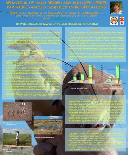 BEHAVIOUR OF HAND REARED AND WILD RED-LEGGED PARTRIDGE (Alectoris rufa) USED IN REPOPULATIONS PÉREZ, J.A.; ALONSO, M.E.; GAUDIOSO, V.; DÍEZ, C.; BARTOLOMÉ,