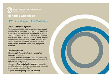 Handling Collection HC1: it's all about the Materials Circular Economy Objective This lesson will allow students to identify technical and biological materials.