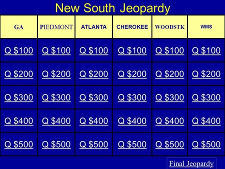 New South Jeopardy Final Jeopardy GAPIEDMONT ATLANTACHEROKEE WOODSTK WMS Q $100 Q $200 Q $300 Q $400 Q $500.