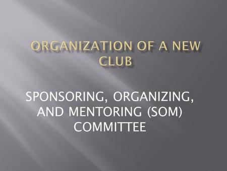 SPONSORING, ORGANIZING, AND MENTORING (SOM) COMMITTEE.