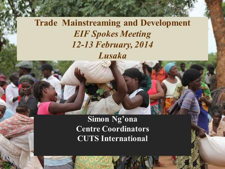 Trade Mainstreaming and Development EIF Spokes Meeting 12-13 February, 2014 Lusaka Simon Ng'ona Centre Coordinators CUTS International.