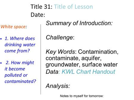 Title 31: Title of Lesson Date: White space: 1. Where does drinking water come from? 2. How might it become polluted or contaminated? Summary of Introduction:
