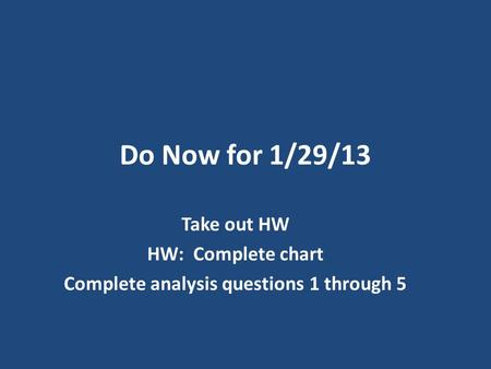 Do Now for 1/29/13 Take out HW HW: Complete chart Complete analysis questions 1 through 5.