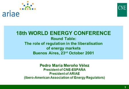 1 18th WORLD ENERGY CONFERENCE Round Table: The role of regulation in the liberalisation of energy markets Buenos Aires, 23 rd October 2001 Pedro María.