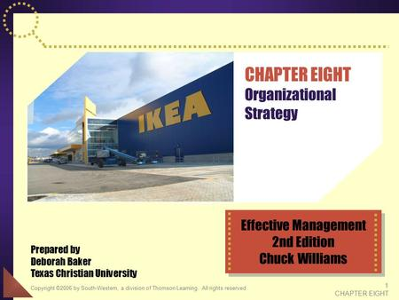 Copyright ©2006 by South-Western, a division of Thomson Learning. All rights reserved 1 CHAPTER EIGHT CHAPTER EIGHT Organizational Strategy Prepared by.