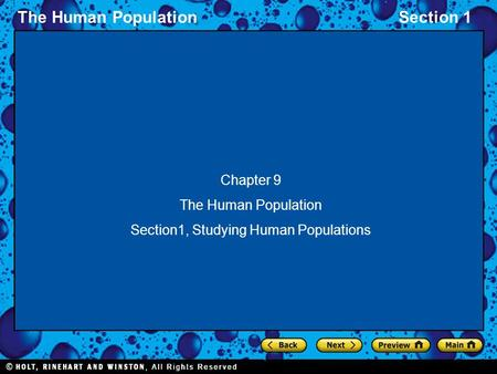 The Human PopulationSection 1 Chapter 9 The Human Population Section1, Studying Human Populations.