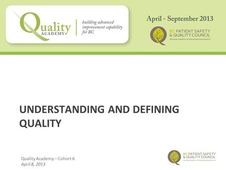 UNDERSTANDING AND DEFINING QUALITY Quality Academy – Cohort 6 April 8, 2013.