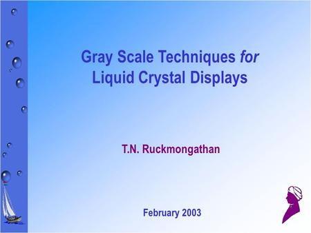 Gray Scale Techniques for Liquid Crystal Displays T.N. Ruckmongathan February 2003.