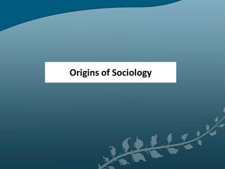Origins of Sociology. Sociology began in 1800's (19 th Century) in Europe Auguste Comte Father of Sociology (French) Wrote: Positive Philosophy Belief: