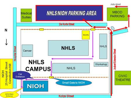NHLS CAMPUS Medical Suites NHLS Security NHLS Cancer NHLS Workshop NIOH MBOD PARKING CIVIC THEATRE Small Gate to NIOH Car Entrance NIOH Main Entrance NIOH.