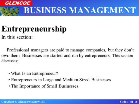 Copyright © Glencoe/McGraw-Hill Slide 1 of 15 BUSINESS MANAGEMENT Real-World Applications & Connections GLENCOE Section 1.1 The Importance of Business.