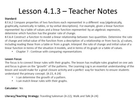Lesson – Teacher Notes Standard: