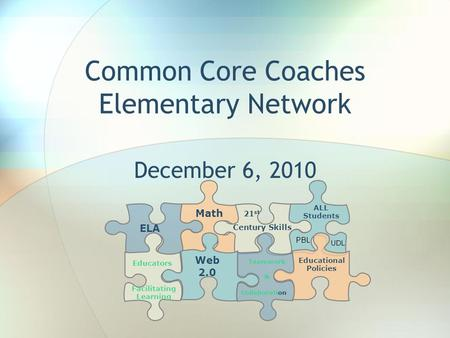 Common Core Coaches Elementary Network December 6, 2010 ELA Math 21 st Century Skills ALL Students Educators Facilitating Learning Web 2.0 Collaboration.