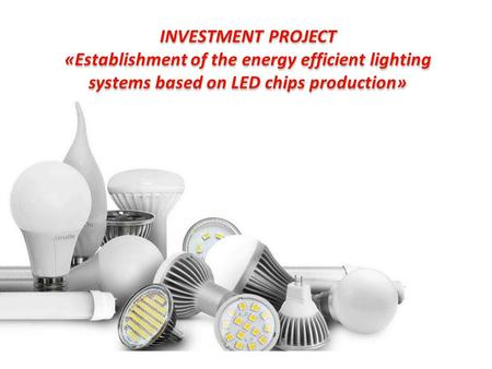 INVESTMENT PROJECT «Establishment of the energy efficient lighting systems based on LED chips production» INVESTMENT PROJECT «Establishment of the energy.