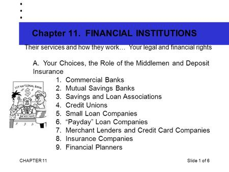 CHAPTER 11Slide 1 of 6 Chapter 11. FINANCIAL INSTITUTIONS Their services and how they work… Your legal and financial rights A. Your Choices, the Role.