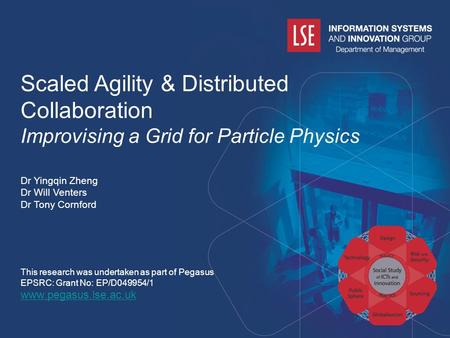 Www.pegasus.lse.ac.uk Scaled Agility & Distributed Collaboration Improvising a Grid for Particle Physics Dr Yingqin Zheng Dr Will Venters Dr Tony Cornford.