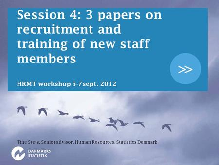 >> Session 4: 3 papers on recruitment and training of new staff members HRMT workshop 5-7sept. 2012 Tine Stets, Senior advisor, Human Resources, Statistics.