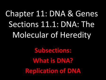 Chapter 11: DNA & Genes Sections 11.1: DNA: The Molecular of Heredity Subsections: What is DNA? Replication of DNA.
