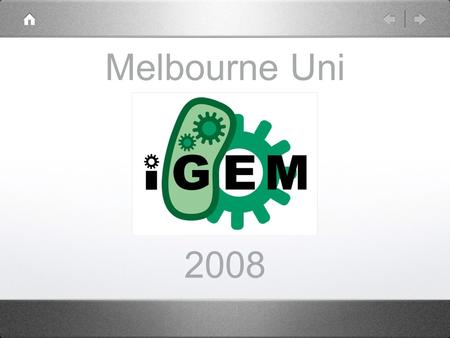 Melbourne Uni 2008. What is iGEM? International Genetically Engineered Machine competition Started in 2003 within MIT.