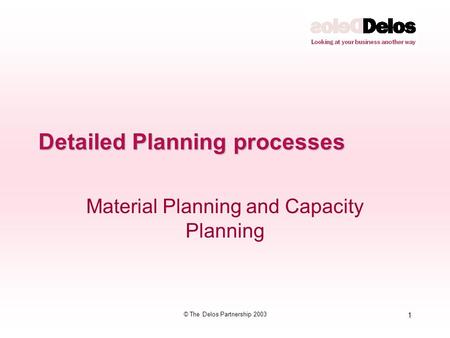 1 © The Delos Partnership 2003 Detailed Planning processes Material Planning and Capacity Planning.