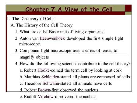 Chapter 7 A View of the Cell I. The Discovery of Cells A. The History of the Cell Theory 1. What are cells? Basic unit of living organisms 2. Anton van.