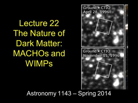 Astronomy 1143 – Spring 2014 Lecture 22 The Nature of Dark Matter: MACHOs and WIMPs.