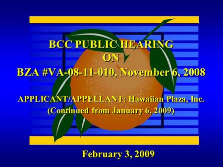 February 3, 2009 BCC PUBLIC HEARING ON BZA #VA-08-11-010, November 6, 2008 APPLICANT/APPELLANT: Hawaiian Plaza, Inc. (Continued from January 6, 2009)