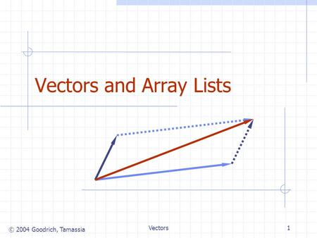 © 2004 Goodrich, Tamassia Vectors1 Vectors and Array Lists.
