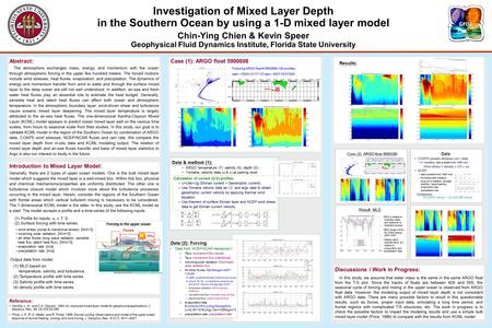 Investigation of Mixed Layer Depth in the Southern Ocean by using a 1-D mixed layer model Chin-Ying Chien & Kevin Speer Geophysical Fluid Dynamics Institute,