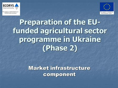 Preparation of the EU- funded agricultural sector programme in Ukraine (Phase 2) Market infrastructure component.