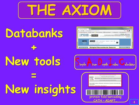 Databanks + New tools = New insights THE AXIOM S imple A tom D epth I ndex C alculator protein fold barcoding CATH – ADAPT…