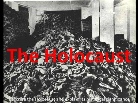 The Holocaust Describe the Holocaust and explain its historical significance.