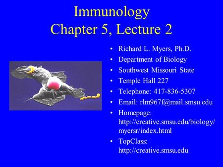Immunology Chapter 5, Lecture 2 Richard L. Myers, Ph.D. Department of Biology Southwest Missouri State Temple Hall 227 Telephone: 417-836-5307