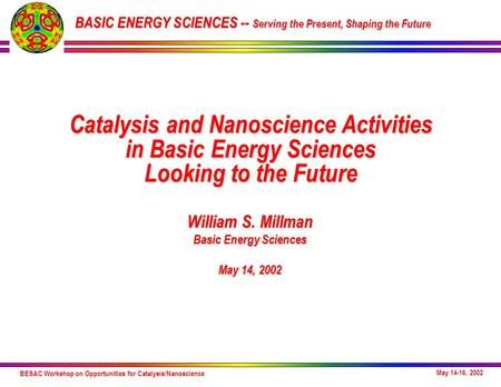 BESAC Workshop on Opportunities for Catalysis/Nanoscience May 14-16, 2002 William S. Millman Basic Energy Sciences May 14, 2002 Catalysis and Nanoscience.