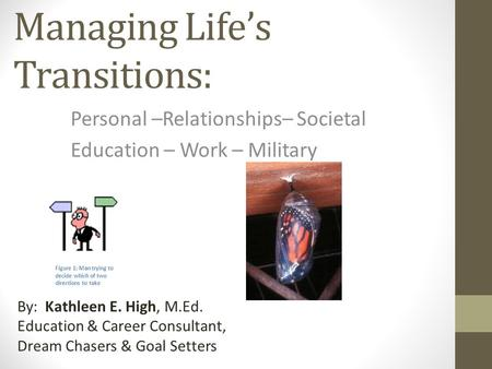 Managing Life's Transitions: Personal –Relationships– Societal Education – Work – Military By: Kathleen E. High, M.Ed. Education & Career Consultant, Dream.