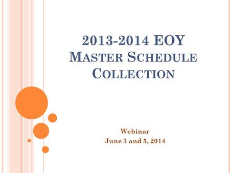 2013-2014 EOY M ASTER S CHEDULE C OLLECTION Webinar June 3 and 5, 2014.