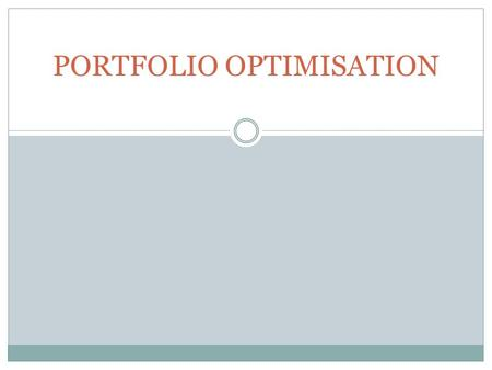 PORTFOLIO OPTIMISATION. AGENDA Introduction Theoretical contribution Perceived role of Real estate in the Mixed-asset Portfolio Methodology Results Sensitivity.
