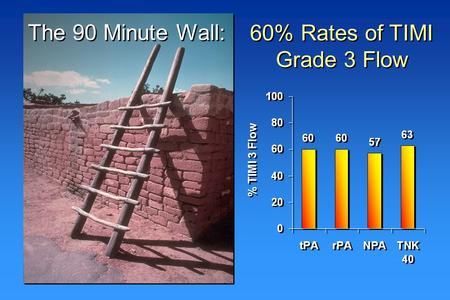 The 90 Minute Wall: 60% Rates of TIMI Grade 3 Flow % TIMI 3 Flow.